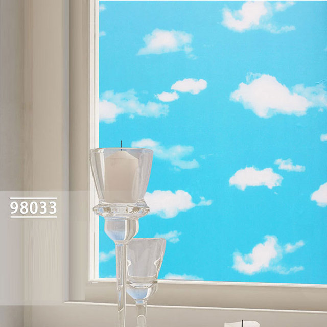 50M045M Color Printing Blue Sky And White Clouds Window Film Stickers Affixed To