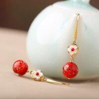 retro temperament pendant earrings, ethnic wind, Korean earrings, red super fairy long, earrings, women's accessories.