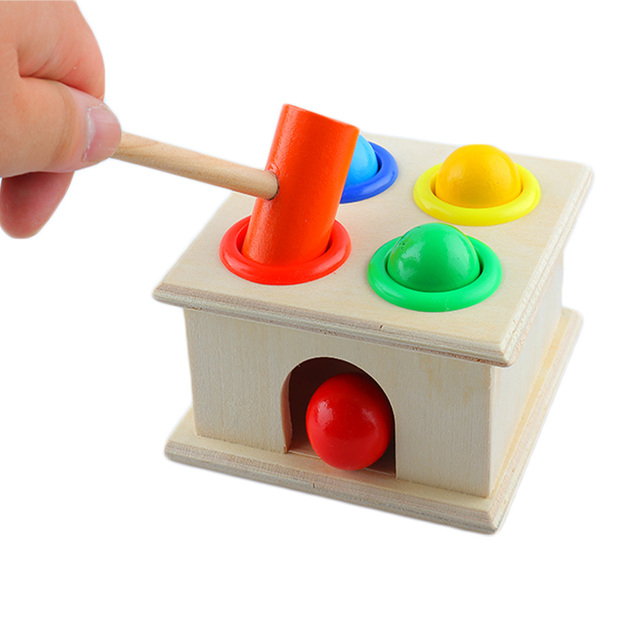 Hammer Game Toy : Funny wooden playing hamster game toy hammering ball