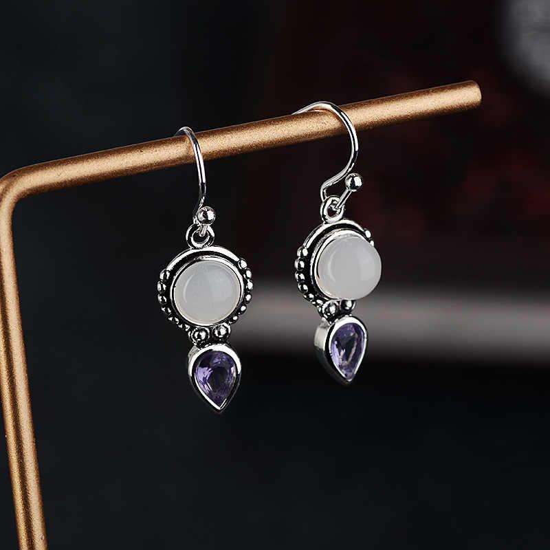 OMHXZJ Bán Buôn Châu Âu Thời Trang Phụ Nữ Cô Gái Bên Món Quà Cưới Moonstone Thạch Anh Tím S925 Sterling Silver Drop Bông Tai EA364