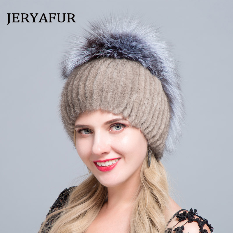 JERYAFUR 2019 New Russian style fur hat knitting wool fashion mink and Fox Fur Hat Winter