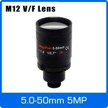 5 megapixel varifocal m12 montagem cctv lente 5 50mm visão de longa distância 1/2.7 polegada foco manual e zoom para 1080 p/5mp ip/ahd câmera
