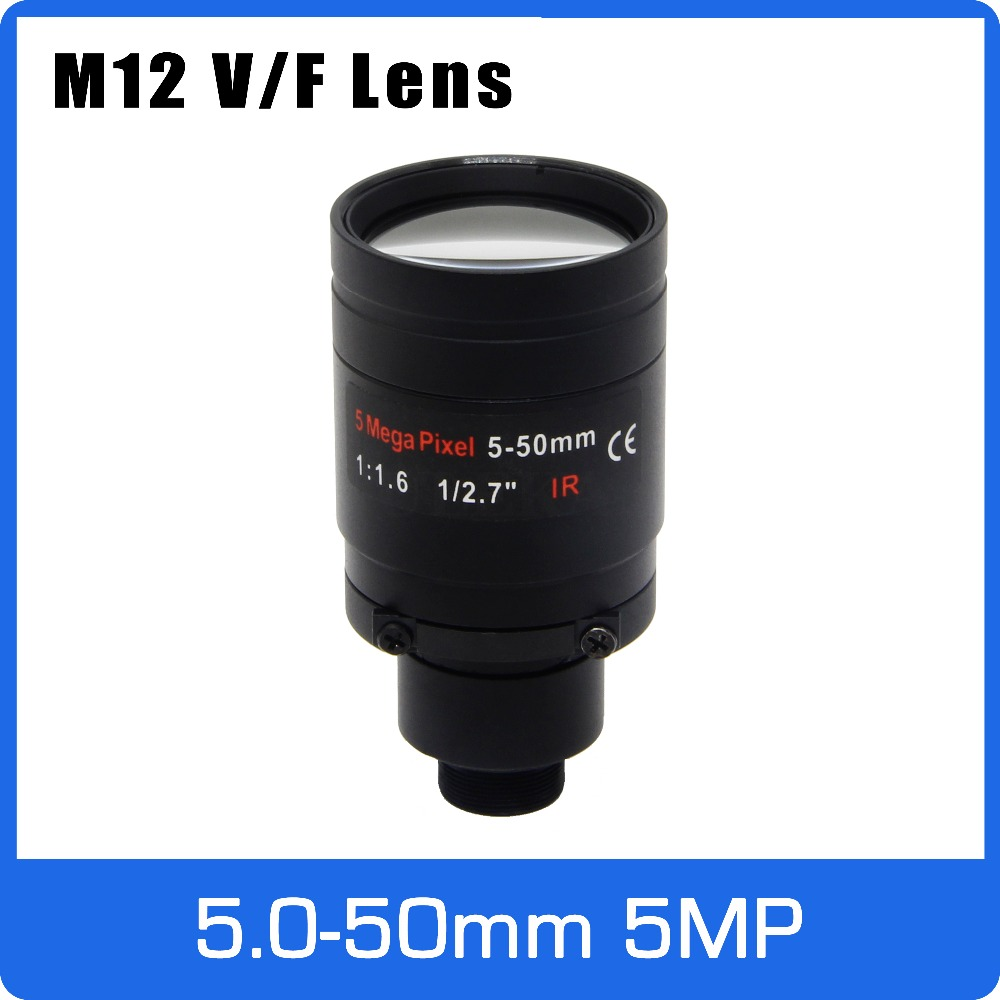 5Megapixel Varifocal  M12 Mount CCTV Lens 5-50mm Long Distance View 1/2.7 Inch Manual Focus And Zoom For 1080P/5MP IP/AHD Camera