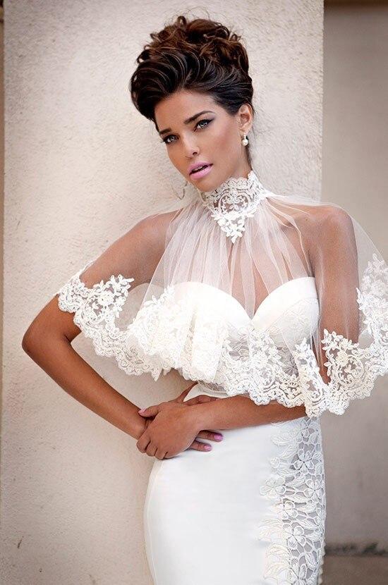 2015 dernier Style sirène chérie avec col haut dentelle pure Cape étage longueur robes de mariée