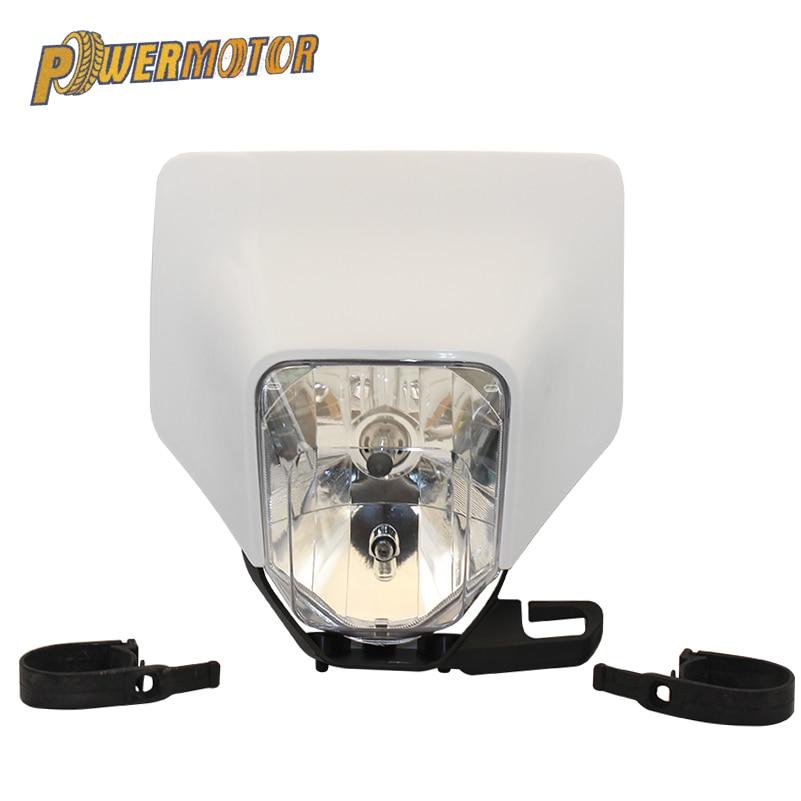 PowerMotor Motorcycle Headlight Headlamp Head Light Lamp Supermoto Fairing For HUSQVARNA FE TE 2018 17 MX Dirt Bike Enduro HL107