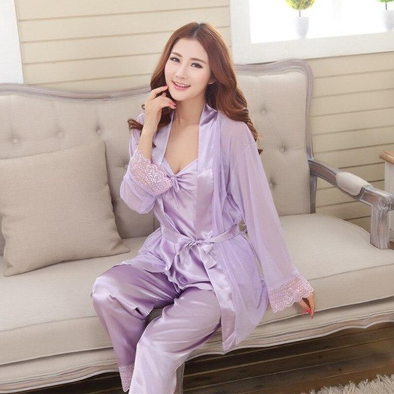 Женщины платье одежды 2017 моделей взрыва рекомендуется-тройку бобов цвет Королевского шелка сыпучих женщин пижамы костюм 837