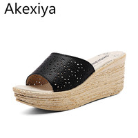 Akexiya Women Mules Clog Shoes Leather Slip On Peep Toe Ladies Cork Wedge Sandals Female Platform