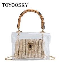 TOYOOSKY Transparent Bag For Women 2019 Handbag With Bamboo Handle Summer Small Chain Crossbody Bags Ladies Straw Beach Bags недорого