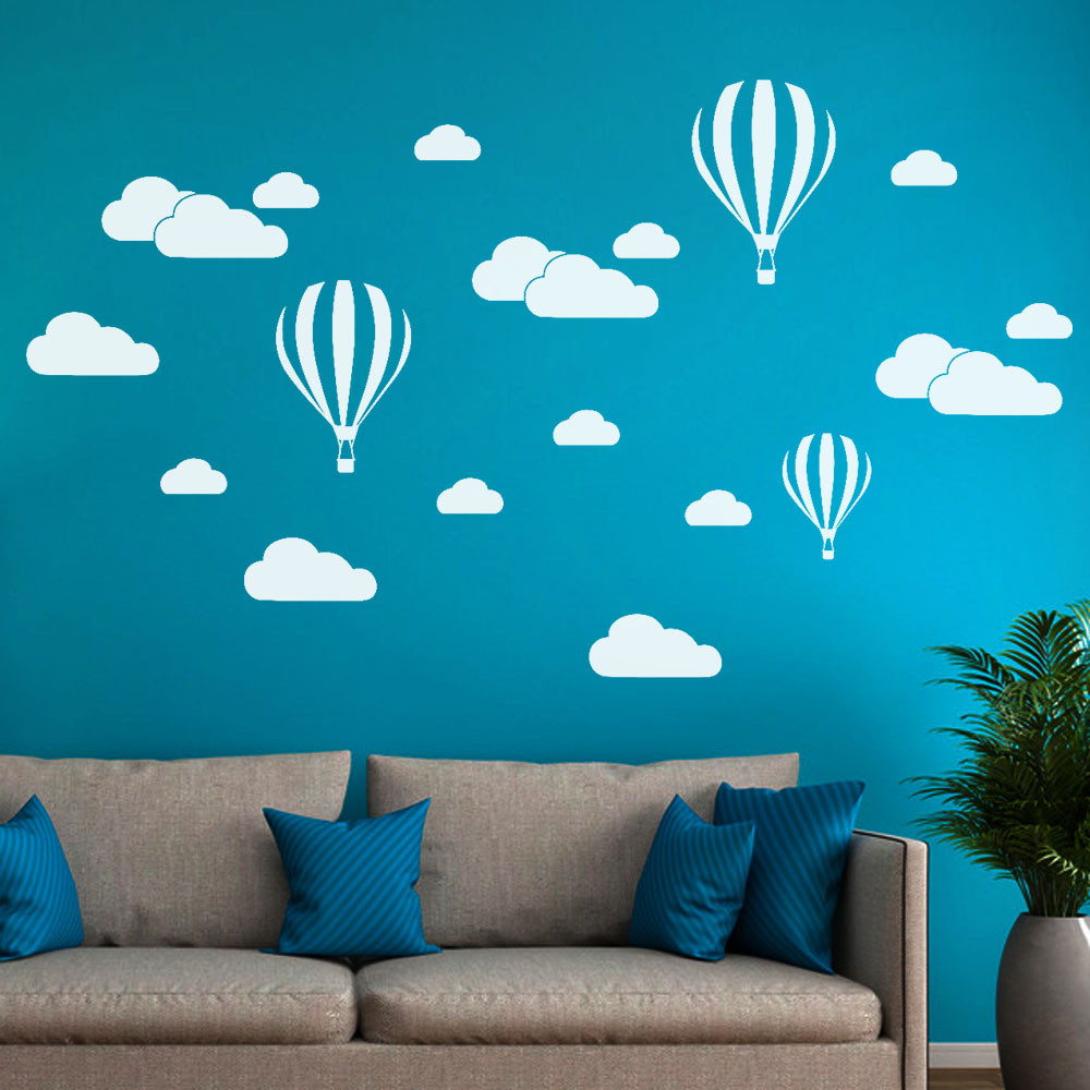 Diy large clouds balloon wall stickers decals kids - Childrens bedroom wall stickers removable ...