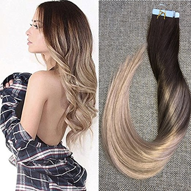 Full Shine Glue In Human Hair Extensions Balayage Ombre Color 4
