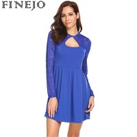 FINEJO Women Keyhole Floral Lace Patchwork Party Dress Spring 2018 New Long Sleeve Casual Cocktail A Line Dresses Femme Vestidos