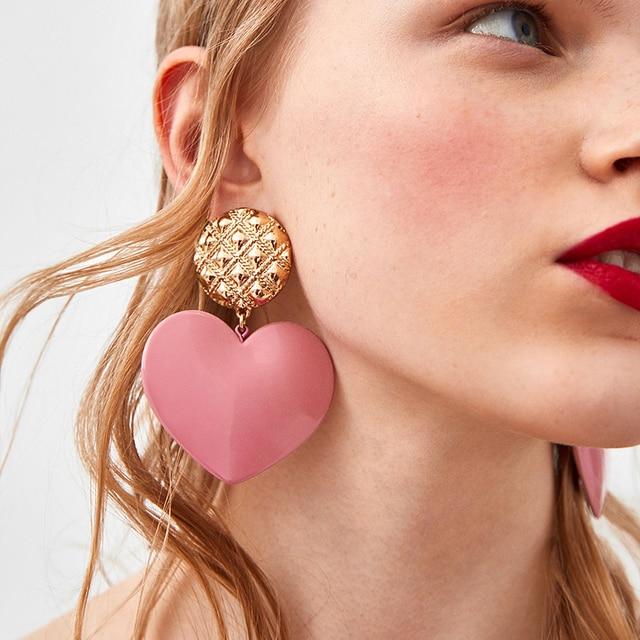 Dvacaman Hot Sale Pink Heart Drop Earrings For Women Fashion Brand Pendientes Ea