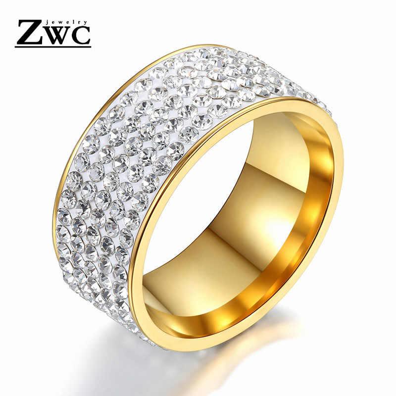 ZWC แฟชั่น Rhinestone สแตนเลสสตีลแหวนเงินผู้หญิงผู้ชาย 8 มม. 5 แถวคริสตัล Vintage หมั้นแหวนเครื่องประดับ