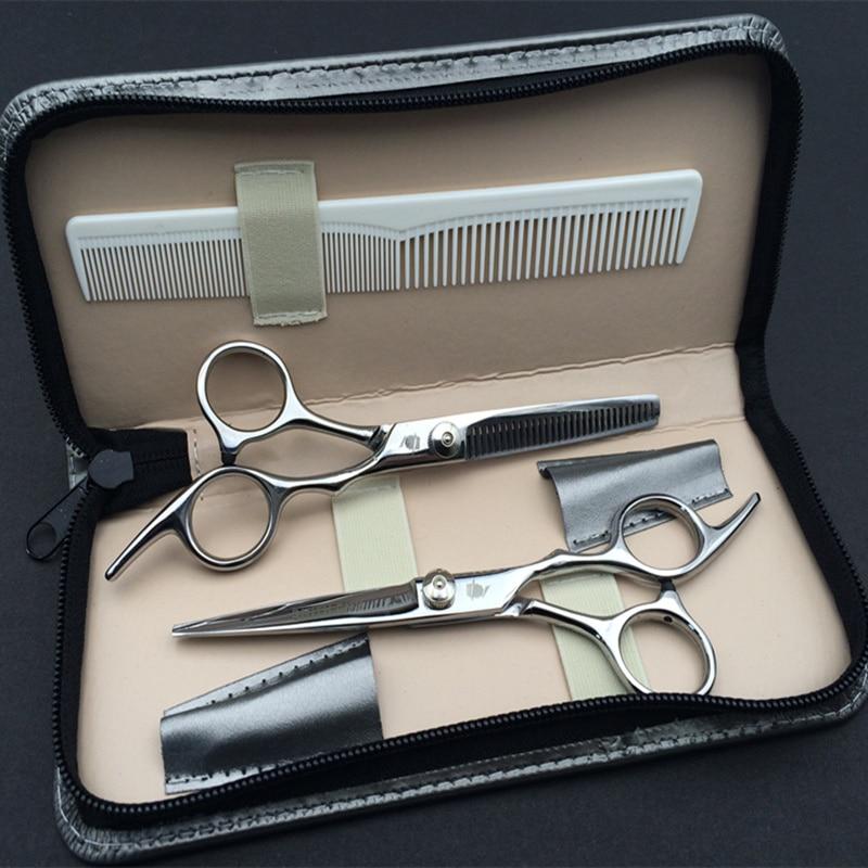 2 Қайшы + Сөмке + Жапсырманың Жапон жоғары сапасы 6.0 дюйм Кәсіби шаштаратқыш Қайшы Haircut Cutter Hairdresser Shear Set Salon