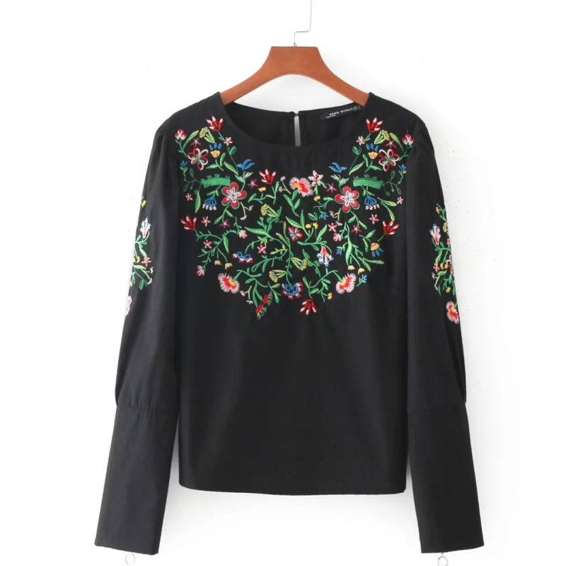 2017 Fashion Women Flower Embroidery Shirts Black Smock Puff Sleeve Zipper Blouses Casual Loose Tops Chemise Femme Blusas S2135