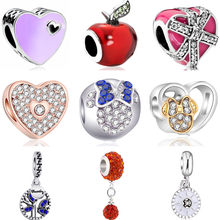 Big Statement Crystal Hearts Chili Leaf Bowknot Smile Mickey European Beads Fit Original Pandora Charms Bracelets for Women DIY(China)
