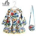 Varejo 2-8 anos Vestido de Princesa + saco/set de veludo engrossados full-Luva imprimir Floral Roupas de Bebê Primavera da queda do outono inverno da menina