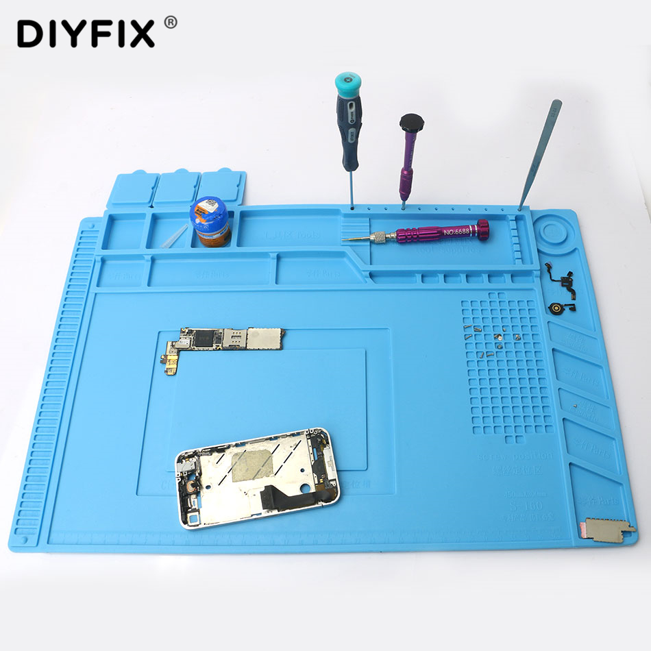DIYFIX 45x30cm Heat Insulation Silicone Pad Desk Mat Maintenance Platform for BGA Soldering Repair Station with Magnetic Section 2 in 1 heat insulation silicone soldering pad desk mat maintenance platform for bga soldering repair station
