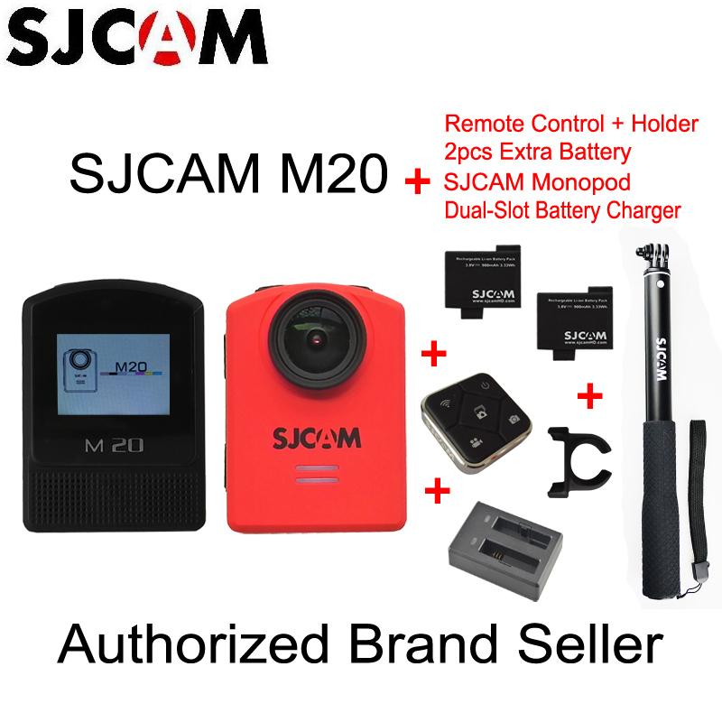 Prix pour D'origine SJCAM M20 Gyro Action Casque Sport DV Caméra NTK96660 30 M Étanche avec Manfrotto Télécommande + 2 pcs Batterie supplémentaire