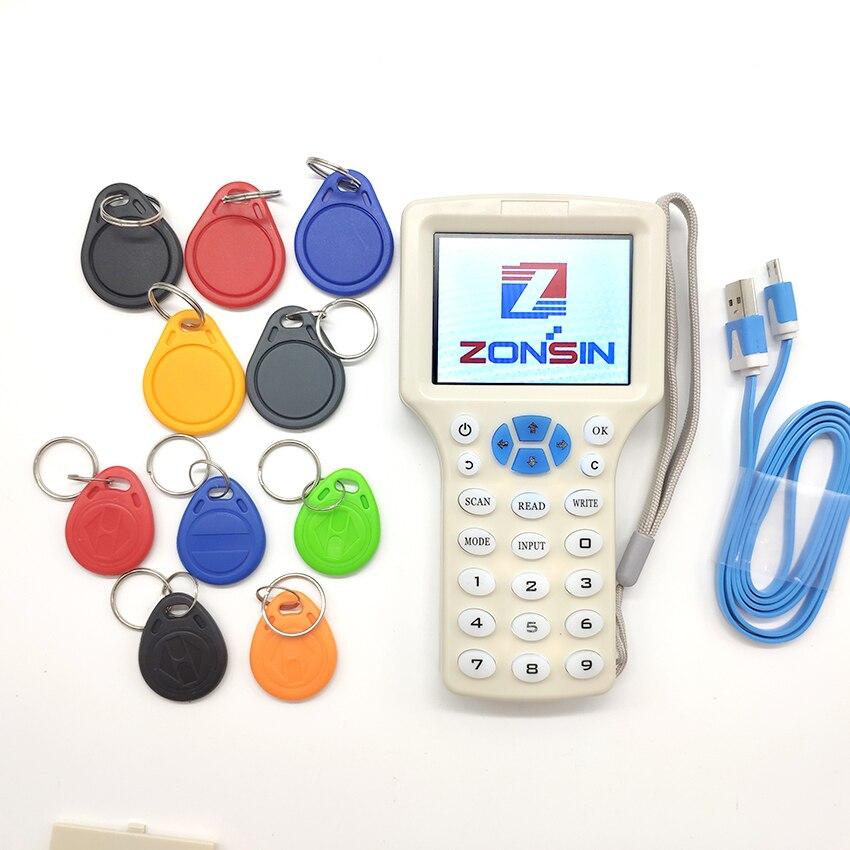English 10 Frequency RFID Card Read Writer RFID Copier Programmer Cloner 5Pcs 125khz Keyfobs 5Pcs 13
