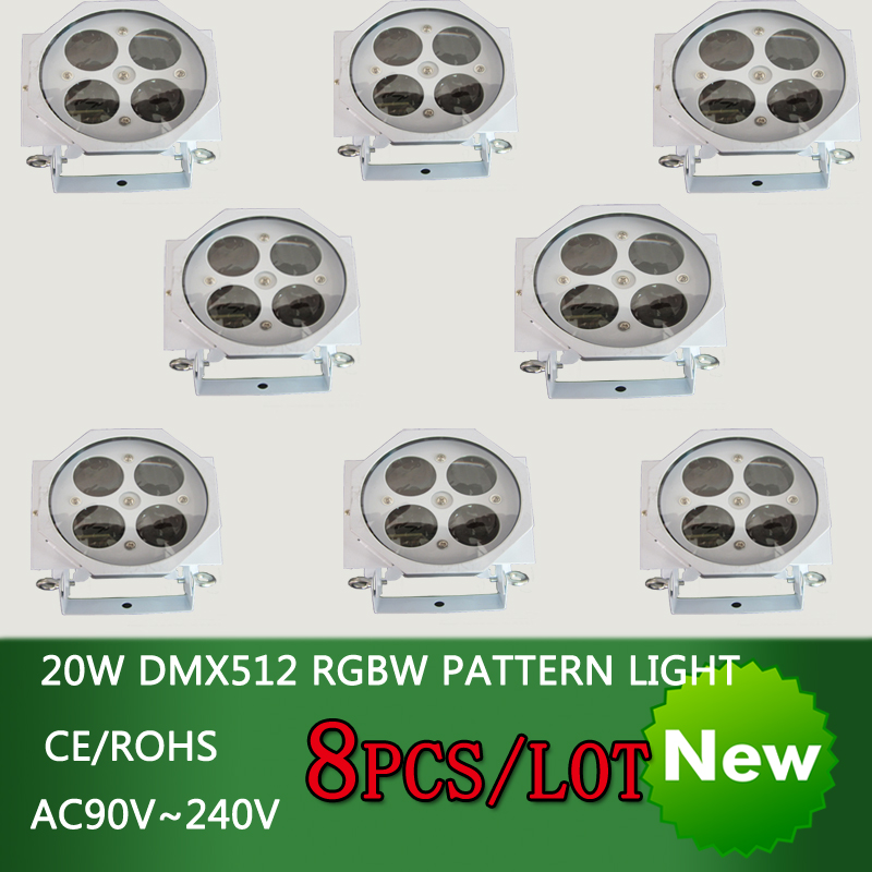 free shipping 8pcs/lot 20W LED DMX512 RGBW patterns spot light disco dj Christmas party professional stage effect projector
