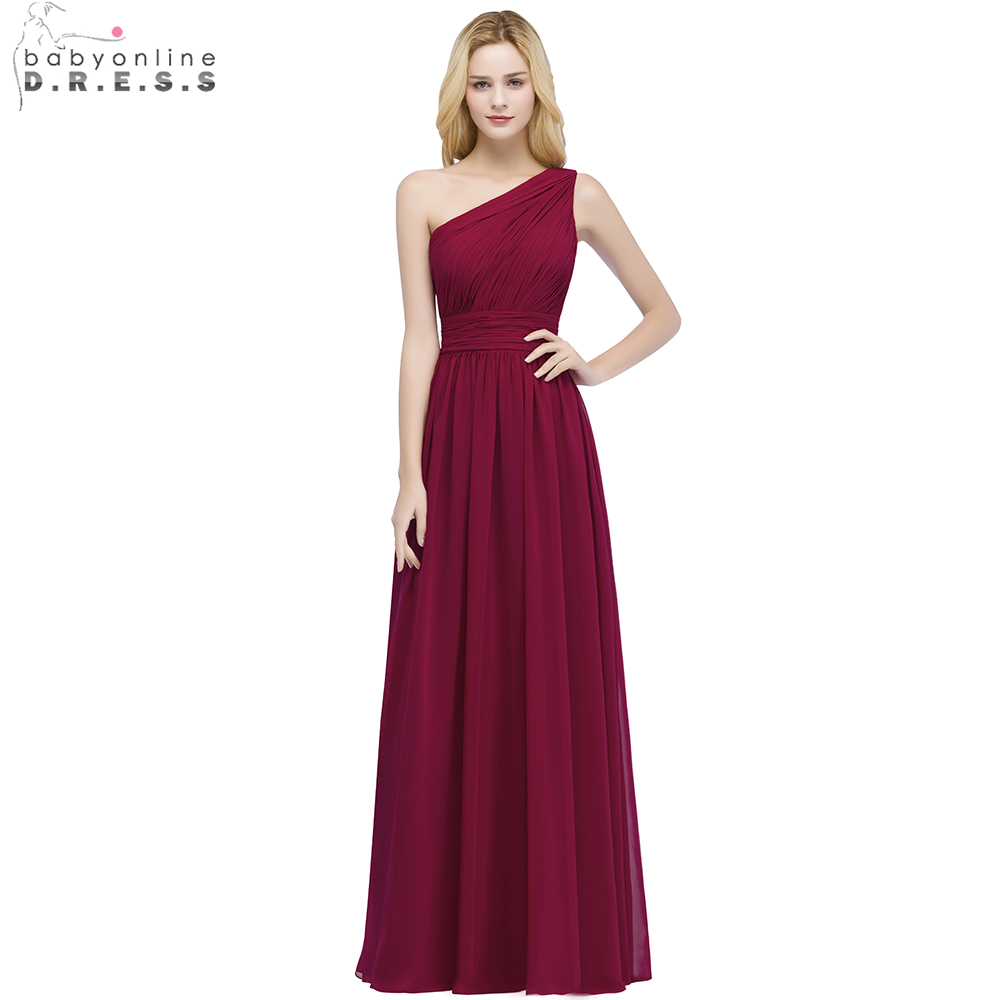Christmas Babyonline One Shoulder Chiffon Burgundy Long Bridesmaid Dresses Wedding Party Dresses Robe Demoiselle Big Sale Babyonline One Shoulder Chiffon Burgundy Long Bridesmaid