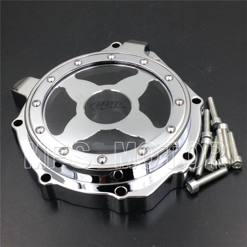 Motorcycle Accessories Left Engine Stator cover see through For Honda CBR1000RR 2004 2005 2006 2007 Chrome aftermarket free shipping motorcycle parts motor engine stator cover honda cbr600rr f4 f4i 1999 2006 left black
