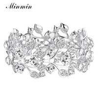 Minmin cristal folha prata cor nupcial pulseiras para mulheres atacado jóias de casamento pulseiras pulseira moda acessório sl108