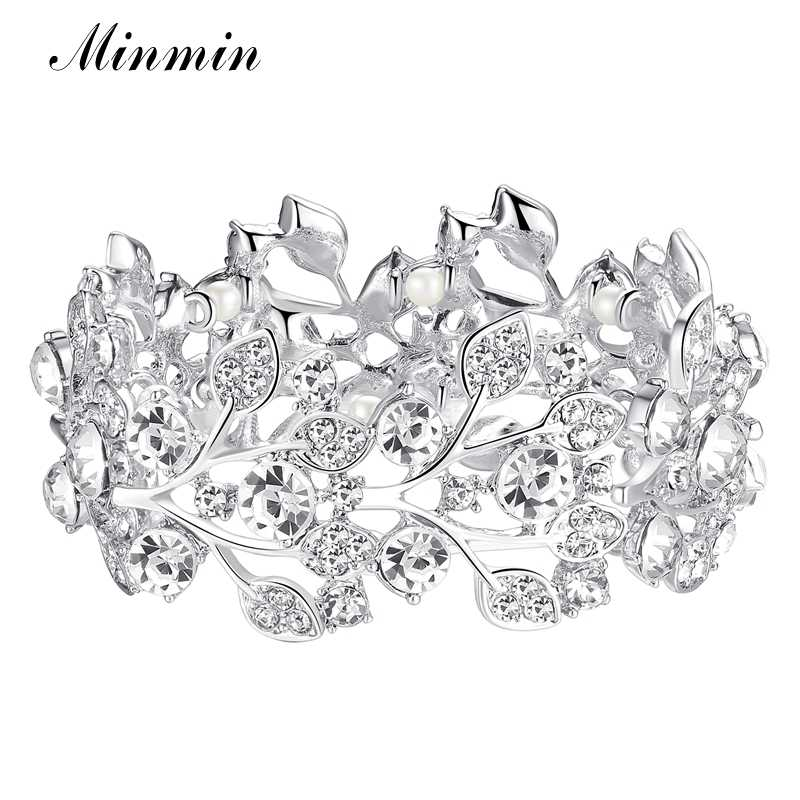 Minmin Crystal Leaf Silver Color Bridal Bracelets for Women Wholesale Wedding Jewelry Bracelets Bangle Fashion Accessory SL108