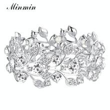купить Austrian Crystal White K Plated Bangles for Women Wholesale Jewelry Leaf Bracelets Fashion Accessory SL108 дешево