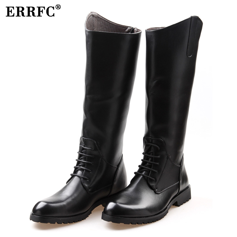 ERRFC Fashion Designer Black Long Knee Boots Men Round Toe Riding Boot Cowboy PU leather Motorcycle