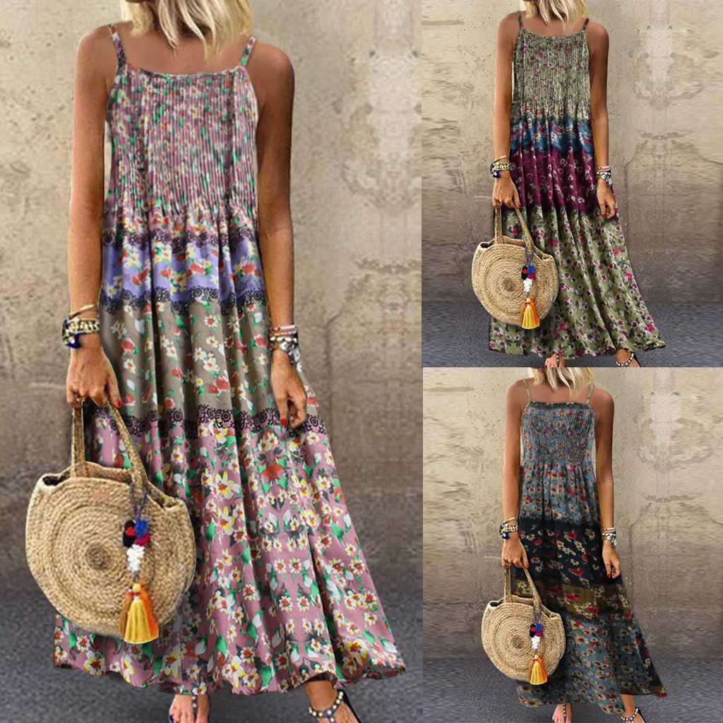 Women Dress 2019 Fashion Women Vintage Bohemian Print Floral Sleeveless O-Neck Straps Maxi Beach Dresses Lagre Size Loose Dress