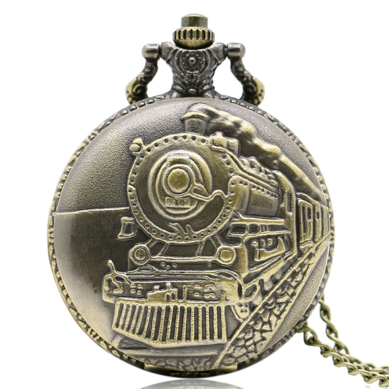 Vintage Relogio Bolso Train Front Locomotive Engine Quartz Railway Pocket Watch Steampunk Nacklace Pendant Womens Mens Gift 2017