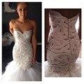 Perlas de lujo sirena de boda vestido hombro botón volver tribunal tren tul de novia vestido de novia