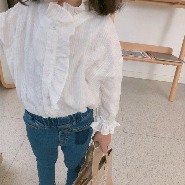 d478187e64bc Spring Baby School Girls White Blouse Toddler Girls Tops Kids Princess Shirt  Bubble Sleeve Lotus Leaf Shirts Children's Clothing