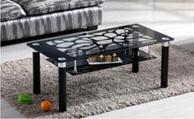 Двойной слой закаленное стекло прямоугольный черный небольшой семейный чайный столик ..