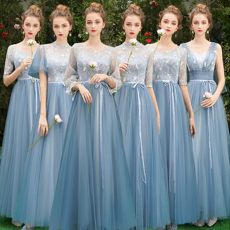 Blue Bridesmaid Dress Long Section 2019 New Korean Version Of The Bridesmaid Party Graduation Dress Long Dress For Wedding Party