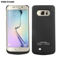 LINK RÜYA 4500 mAh Galaxy S6 için Kenar + Harici Pil Kutusu Kickstand ile Samsung Galaxy S6 Kenar Artı G928-siyah
