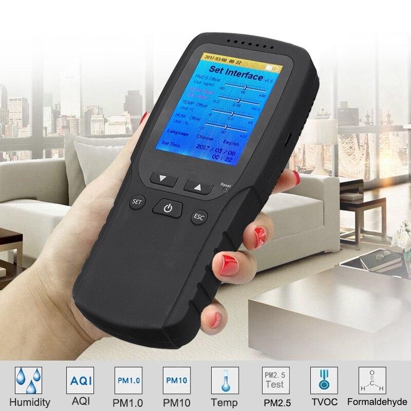Professionale LCD Digitale Rilevatore di Formaldeide Tester Aria di Formaldeide Tester di Qualità Sensore HCHO TVOC PM2.5 Meter Air Analizzatori