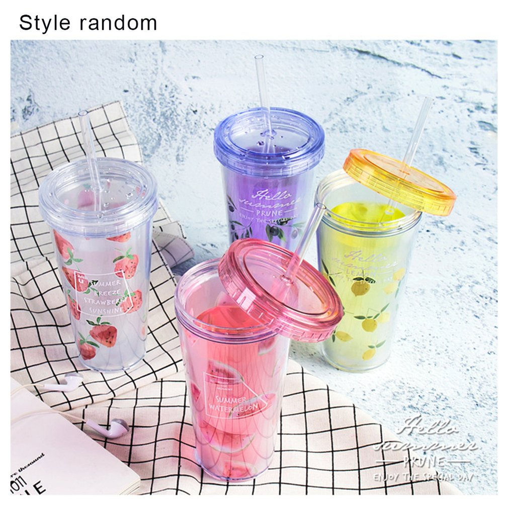350ml Plastic Water Cup Travel Portable Double Layer Drinking Cups Flat Cover Water Bottle With Straw Lovely Fruit Pattern