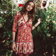 Vintage Ethnic Print Folk 2017 V Neck Tunic Beach Dress Women Sexy Summer Boho Hippie Mini Party Vestido Drop Shipping