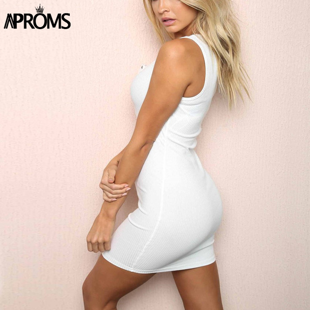 Aproms White Knitted Ribbed Summer Mini Dress Elegant Sleeveless Tank Dress Sundresses Women Slim Fit Bodycon Dresses Vestidos