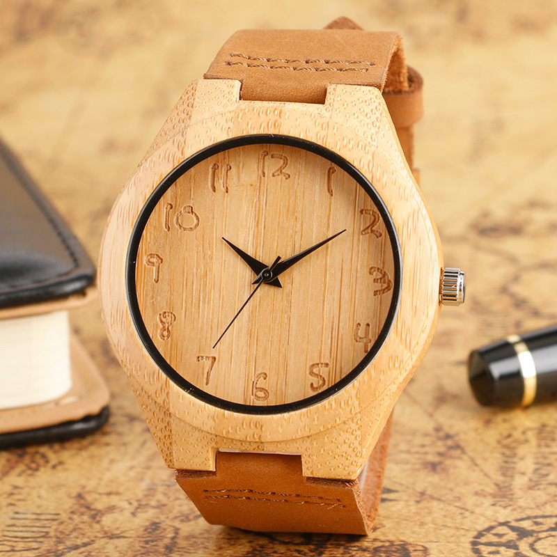 Simple Bamboo Wooden Watch Men's Handmade Engraved Arabic Numbers Novel Fashion Sport Clock Male Genuine Leather Souvenir Gifts natural handmade bamboo watch novel life tree pattern display men women wooden wristwatch genuine leather strap new clock 2018