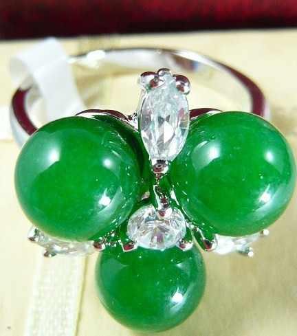 ขายส่งที่สวยงาม 8 มม. 3 สีเขียวหยกธรรมชาติดอกไม้แหวนแฟชั่น (#7.8.9)