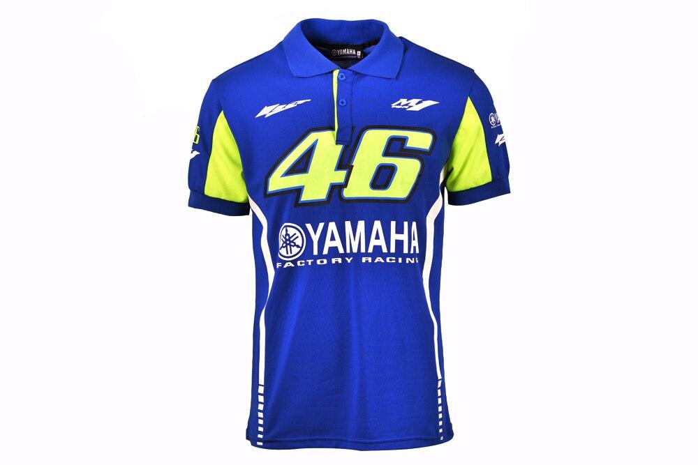 2017 Valentino Rossi MotoGP per Yamaha Polo uomo Motociclismo VR46 Blu T-SHIRT