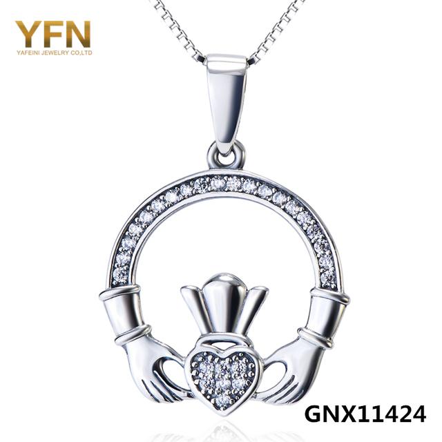 YFN 2016 Nueva Moda Genuino 925 Plata Esterlina Claddagh Acento Collar Joyería Collares y Colgantes Para Las Mujeres