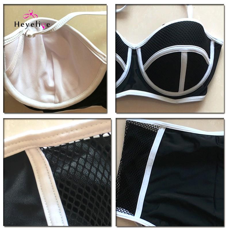 Mesh High Waist Bikinis Sexy Perspective Swimwear Women Push Up Swimsuit Top Halter Bathing Suit Padded Biquinis Bikini Set 15