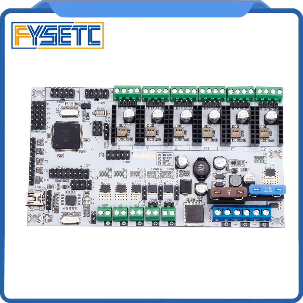 Rumba + all in one board control card Rumba-board integrated motherboard 2560 R3 processor compatible TMC2100 TMC2208 TMC2130 rumba plus motherboard 2560 r3 processor upgrade rumba control board with 6pcs tmc2100 drivers suitable for mks tft display