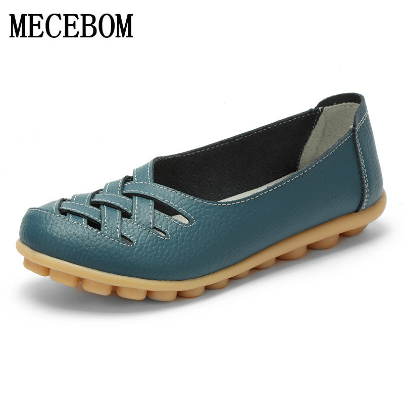 2018 Spring New Fashion Leather Woman Flats Moccasins Comfortable Woman Shoes Cut-outs Leisure Flat Woman Casual Shoes 1199W 2017 summer new women fashion leather nurse teacher flats moccasins comfortable woman shoes cut outs leisure flat woman casual s