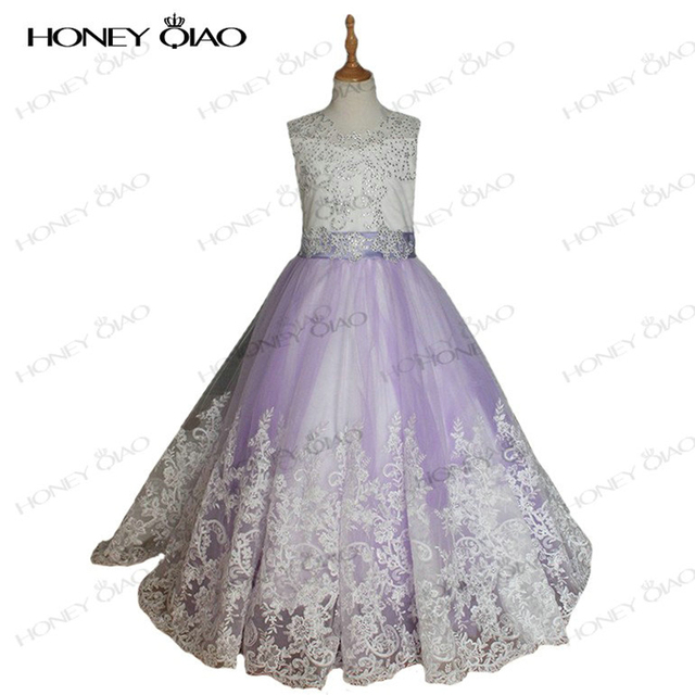09b52bb0ac Honey Qiao Flower Girl Dresses Purple Tulle Sleeveless Lace With Bow Ball  Gown First Communion Dress for Girls Pageant Dresses